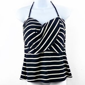 Liz Claiborne Size 16 Black/White Striped Tankini